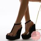 楔型涼鞋 絨質T型果凍拼接 厚底涼鞋*KWOOMI-A51