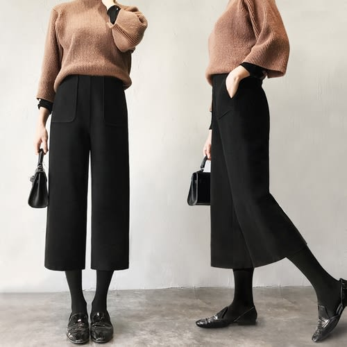 【GZ11】毛呢寬褲 高腰顯瘦加厚毛呢七分直筒褲 寬鬆復古寬褲