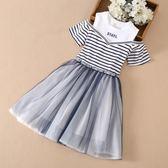 女大童短袖連身裙夏裝新款12歲中大童女孩條紋網紗棉公主裙子歐歐流行館
