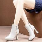 高跟鞋女秋冬2021新款短筒靴加絨尖頭粗跟馬丁靴腳顯小百搭皮靴子 3C數位百貨