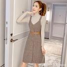 吊帶裙 2020秋冬季新款小香風復古格子吊帶裙子毛呢背帶洋裝套裝兩件套 開春特惠