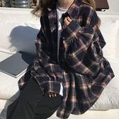 原宿蝙蝠袖襯衫女bf風春秋中長款寬松韓版毛呢格子襯衣開衫外套潮