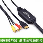 高清HDMI轉AV線電腦小米盒子機頂盒高清介面接老電視三色蓮花端子轉換器
