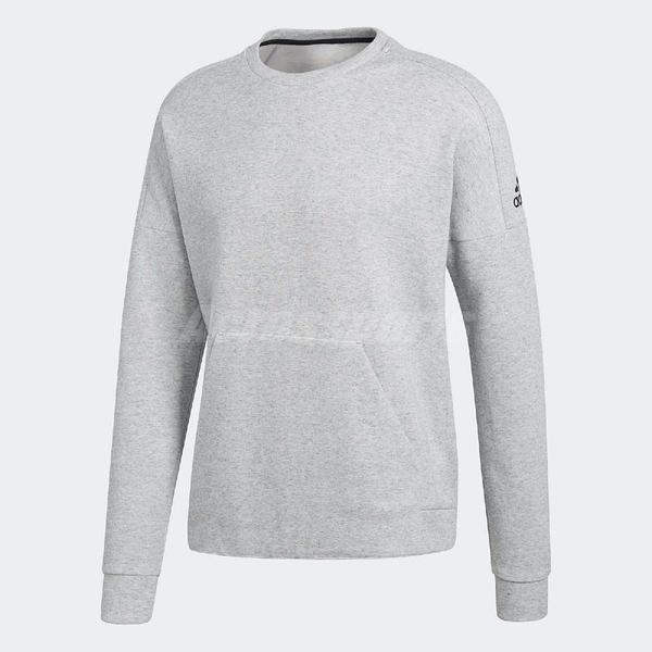 adidas 大學T ID Stadium Crewneck Sweatshirt 灰 長T 前方口袋 男款 【ACS】 CW4017