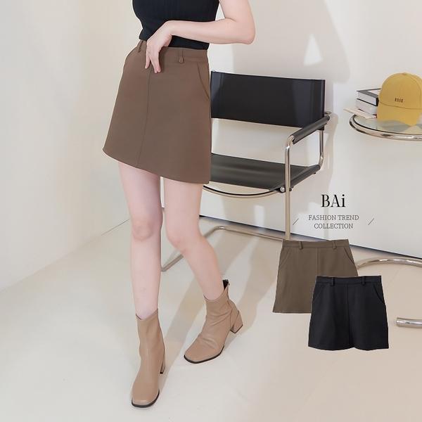 純色縫線拉鍊褲裙M-L號-BAi白媽媽【310802】