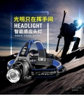 頭燈 戶外led感應頭燈強光充電變焦頭戴式鋰電筒超亮夜釣魚疝氣礦燈小