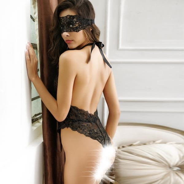 性感露背蕾絲掛脖透視連體身 嫵媚誘惑連身身女士性感內身