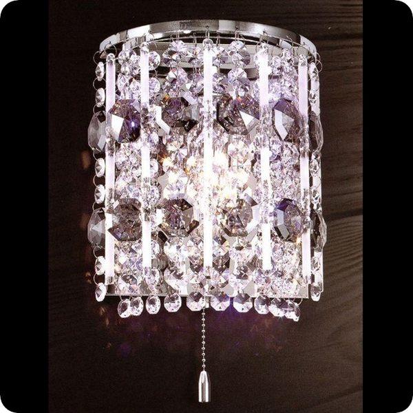 鋼材藝術水晶LED壁燈─高20寬18深12 cm─E14x1【雅典娜家飾】A707324水晶垂吊式有小夜燈