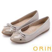 限時特賣-ORIN 典雅輕柔款 麻布紋牛皮尖頭平底鞋-灰米