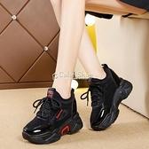 2010新款黑色女春老爹鬆糕休閒坡跟運動鞋女厚底棉鞋內增高單鞋 快速出貨