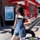 牛仔背帶短褲女夏季韓版寬鬆可愛學生減齡高腰闊腿顯瘦吊帶連體褲 8號店