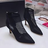 2019春秋新款尖頭短靴網紗涼靴歐美貓跟細跟裸靴單靴子高跟女網靴 果果輕時尚