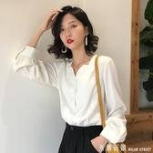 雪紡襯衫 2020春夏裝新款韓版長袖V領雪紡襯衫女士輕熟心機設計感小眾上衣