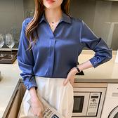 M-4XL長袖襯衫~7202# 簡約大方藍色襯衫女顯瘦長袖氣質方領上衣T317A莎菲娜