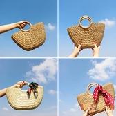 手工草編包女手提包大容量草包度假沙灘編織女包包【倪醬小舖】