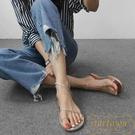 涼鞋女夏平底編織套趾簡約細帶羅馬沙灘鞋時...