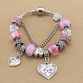 串珠手鍊-甜美粉色公主風水晶飾品時尚女配件3色73kc346【時尚巴黎】