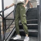 4207#【實拍】春夏韓版hiphop工裝褲男女寬鬆bf原宿直筒INS束腳褲【雙十一狂歡】