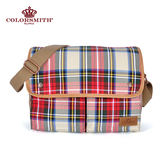 【COLORSMITH】LD・雙口袋斜背包-經典紅格紋・LD1072-RH
