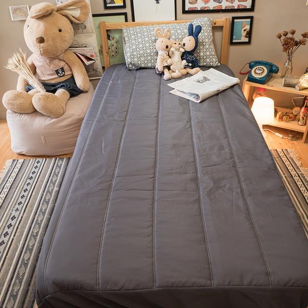 床包式保潔墊(鐵灰)加大 6X6.2 抗菌防螨防污 厚實鋪棉 可水洗 台灣製 棉床本舖