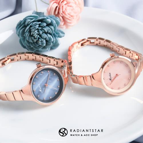 MEIBIN回憶釋放雲彩貝殼面點鑽金屬鍊錶手錶【WM1081L】璀璨之星☆