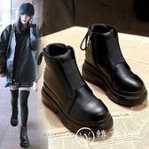 松糕馬丁靴英倫風厚底短靴秋冬季女鞋新款2018圓頭棉鞋單靴女靴子