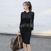 秋裝新款韓版氣質OL時尚帶帽修身顯瘦中長款包臀長袖連身裙