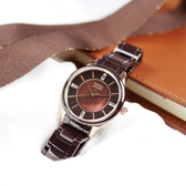 NATURALLY JOJO / JO96970-95R / 花樣潮流 珍珠母貝 藍寶石水晶玻璃 閃耀晶鑽 陶瓷手錶 褐x玫瑰金框 36mm