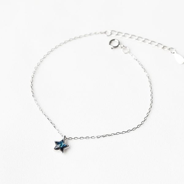 925純銀 小五角星星 藍水晶 裸銀素銀 極細手鍊-銀 防抗過敏 不退色