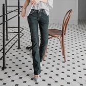 OB嚴選《BC0021-》復古美型~嚴選韓版藍黑仿舊小喇叭牛仔褲--適 S~XL