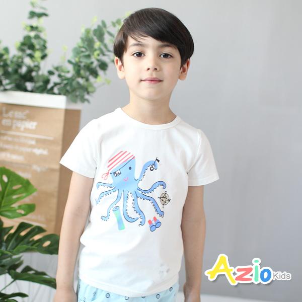 童裝 上衣 海盜造型章魚棉質短袖T恤(白)