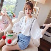 白色襯衫女韓版立領七分袖襯衣刺繡寬鬆套頭上衣 LQ5606『miss洛羽』