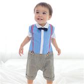 短袖連身衣 假吊帶 紳士 格紋 哈衣 爬服 男寶寶 小紳士 小花童 Augelute Baby 60242