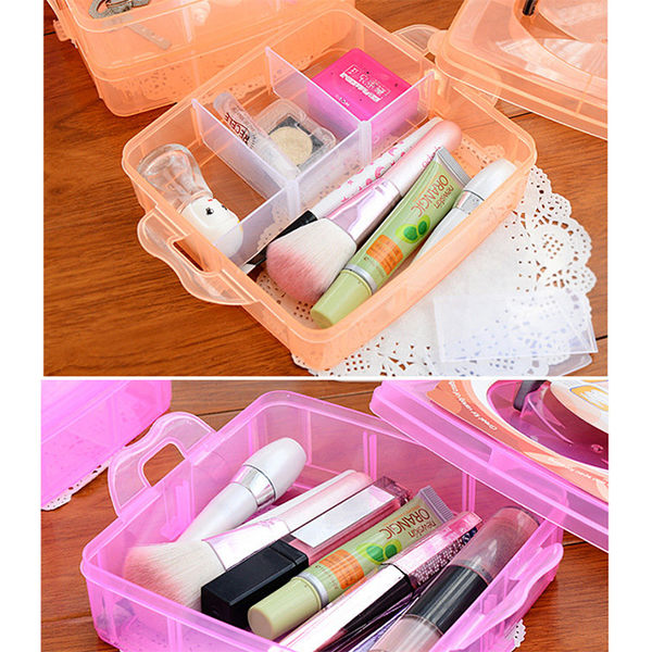 三層可拆格塑膠收納盒透明收納盒塑膠首飾盒(不挑色)