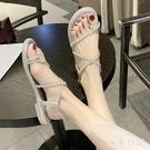 細帶水鉆夾腳涼鞋女仙女風2020夏季新款平底百搭配裙子的羅馬鞋潮CH1432【小美日記】