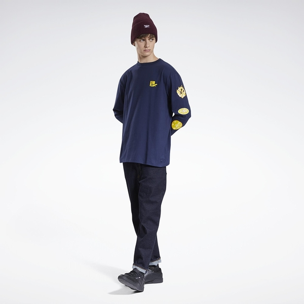 REEBOK X BLACK EYE PATCH 男裝 女裝 長袖 聯名 休閒 棉質 藍【運動世界】GT4628