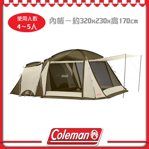 【Coleman 美國 綠橄欖版 Tough sceeen 2-room 露營4-5人帳篷】33800/一房一廳
