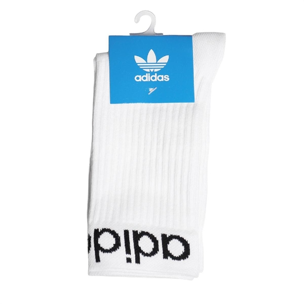 adidas 襪子 Linear Cuff Crew Socks 白 黑 三葉草 兩雙入 愛迪達【ACS】 ED8730