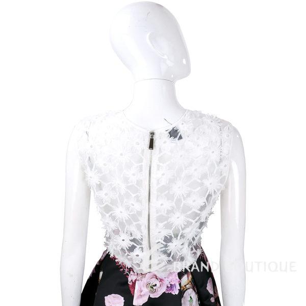 PINKO 白色紗質織花拉鍊設計無袖上衣 1620475-20