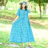 民族風新款棉綢大尺碼寬鬆印花圓領短袖系帶大擺連衣裙