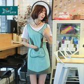 原創綠色可愛兔子韓版圍裙設計師咖啡廳居家工作服防油烘焙圍裙女 居家物語