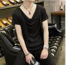 男裝韓版低胸領短袖青少年修身個性假兩件V領T恤潮外 jy【店慶八折特惠一天】