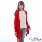 Victoria 連帽長袖線衫上衣外套-女-紅色-V65058