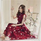 紅色無袖碎花雪紡洋裝女過膝寬鬆印花中長裙子