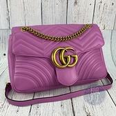 BRAND楓月 GUCCI 古馳 443496 嫩紫色 MARMONT 金鍊 掀蓋 斜背包 側背包 肩背包 中款