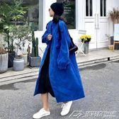 港風chic復古中長款寬鬆開衫長袖風衣女新款秋裝韓版百搭外套  潮流前線
