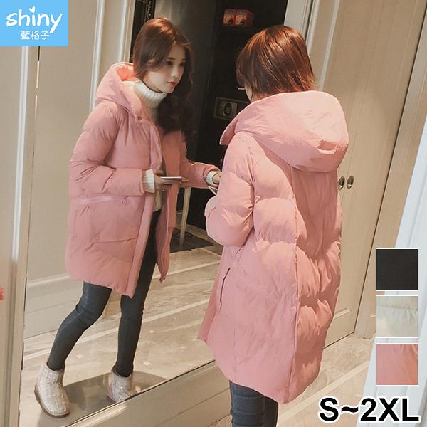 【V3050】shiny藍格子-紮實溫暖.純色連帽長袖中長款羽絨棉外套