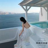沙灘裙海邊度假長裙白色吊帶裙子露背連身裙【時尚大衣櫥】