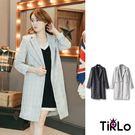 針織外套-Tirlo-混色針織格紋長版西...
