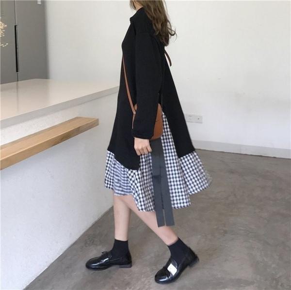 漂亮小媽咪 韓國洋裝 【D5817】 假兩件 格子 連身裙 長袖 長洋裝 格子紋 長裙 魚尾裙